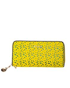 Yellow Leather Hollow Out Clutch