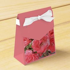 Coral Shrub Roses Party Favor Boxes #flowers #partyideas #showerideas