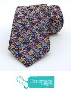 "Purple and orange floral men's tie 8 cm (3,15"") DK-095 from Nazo Design… #handmadeatamazon #nazodesign"