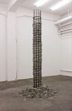 <h5>Untitled</h5>,2012, reinforcing basket, concrete, 300 x 100 cm, basket ø 30 cm