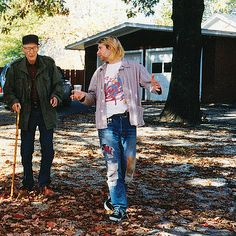 """Kurt Cobain and William Burroughs / Burroughs remarked to his assistant after Cobain left: """"There is something wrong with that boy; he frowns for no good reason."""""""