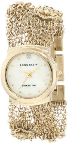 Anne Klein Women's 10/9780MPGB Swarovski Crystal Accented Rope Chain Diamond Dial Watch Anne Klein. $94.97. Jewelry clasp closure with extender. Mother-Of-Pearl dial with genuine diamond at 12 o'clock ;. Polished gold-tone finished round case. Water-resistant to 30 M (99 feet). Polished gold-tone rope chain bracelet with 6 floral designed embellishments with Swarovski crystals