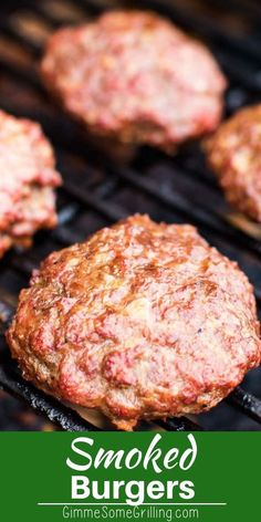 Smoked Hamburgers We love this easy Smoked Burgers recipe on our Traeger! Only a few ingredients and this hamburger recipe is juicy and delicious. Perfect easy smoker recipe for dinner! Traeger Recipes, Smoked Meat Recipes, Beef Recipes, Grilled Hamburger Recipes, Easy Bbq Recipes, Smoked Beef, Smoked Chicken, Mexican Chicken, Barbecue Recipes