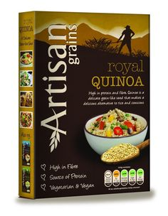 Artisan Grains Royal Quinoa - Delicate grain like seed has a delicately nutty flavor when cooked that makes a delicious alternative to rice and couscous. High in protein and fiber. Tasty and healthy Vegetarian product.