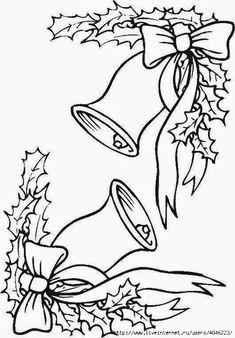 dibujo de bordes de navidad con campanas y lazos de