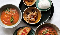 Serve a sumptuous tomato soup alongside bowls of pancetta and mussels, chilli toasts and goat's curd and you have the makings of a perfect summer feast, says Nigel Slater. Recipes meals ideas. Dinner