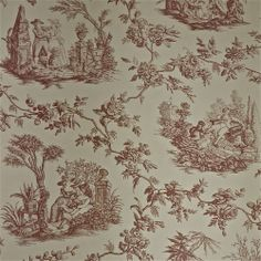Lee Jofa Quatre Saisons Historic Mauve Toile Wallpaper - Gorgeous, top quality handprinted 18th century reproduction.