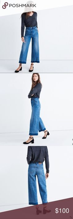 "NWOT Madewell wide leg crop jeans $175 Inspired by traditional workwear, these wide-leg jeans have lots of old-school details, like a coin pocket and a just-right cropped length. This special version is sewn and stonewashed before a member of our jeans team lets down the hems by hand, creating a cool raw-edged finish.   98% cotton/2% elastane Sit slightly above hip, fitted through hip and thigh, with a flare leg. Front rise: 10 1/2""; inseam: 24""; leg opening for size 25: 22"" Original price…"