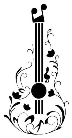 Sound of music, music is life, music tattoos, musical instruments, music illustration Music Drawings, Art Drawings Sketches, Easy Drawings, Tattoo Drawings, Guitar Drawing, Guitar Art, Guitar Sketch, Guitar Tattoo Design, Music Notes Art