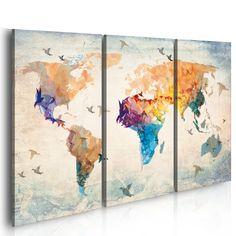 Grand Format + Impression sur toile + Images + 3 Parties + carte du monde + Tableau + 020113-232 + 120x80 cm + CHOIX ƒNORME DES ImpressionS ARTISTIQUES DANS NOTRE BOUTIQUE+