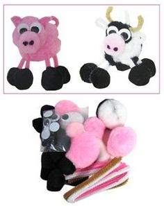 Amazon.com: Pig and Cow Barnyard Pom-pom and Pipe Cleaner Craft Kit: Toys & Games