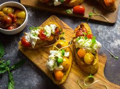 Crostini With Blistered Cherry Tomatoes, Burrata and Chive Oil Recipe | Serious Eats