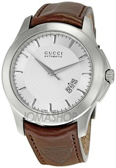 Gucci Timeless Silver Dial Brown Leather Strap Mens Watch YA126216