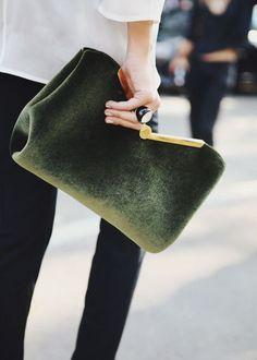 green fuzzy clutch