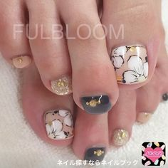 Nail image FULBLOOM Yokote 1071967 beige flower autumn softgel foot