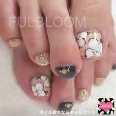 Nail image FULBLOOM Yokote 1071967 beige flower autumn softgel foot
