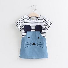 Victory! Check out my new Cute Mouse Embroidery Striped Short Sleeve Dress for Baby Girl, snagged at a crazy discounted price with the PatPat app.