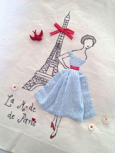 Retro Sewing Paris French Fashion Retro Chic Eiffel Tower Tote Bag Red and Aqua. via Etsy. Vintage Embroidery, Embroidery Art, Embroidery Applique, Cross Stitch Embroidery, Machine Embroidery, Embroidery Designs, Embroidery Fashion, Applique Patterns, Applique Designs