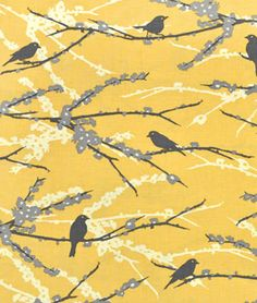 Love this for table runners - would need 8 yards.  Joel Dewberry Sparrows Vintage Yellow Fabric | onlinefabricstore.net