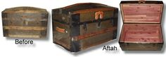 Refinished antique dome topped trunk