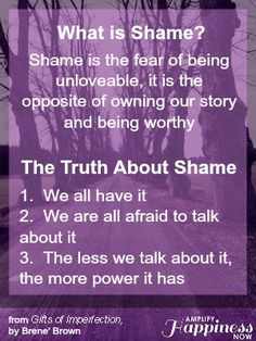What is shame?  Here's the answer based on Brene' Brown's book The Gifts of Imperfection #daringway http://amplifyhappinessnow.com/blog/2014/05/05/fall-oregon-2014-daring-way-events/