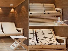 tuntu-riippulauteet2 Sauna Ideas, Saunas, Basement Ideas, Relax, Indoor, Home, Interior, Ad Home, Steam Room