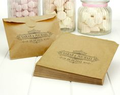 Personalised vintage wedding paper bags - brown ribbed kraft favour party sweets