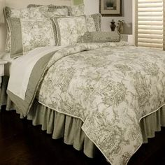 Beautiful Essie Toile 6 Piece Comforter Set by Astoria Grand Bedding Sale from top store Toile Bedding, Ruffle Bedding, Green Comforter, Comforter Sets, Bedroom Furniture, Bedroom Decor, Master Bedroom, French Country Bedding, Queen Size Duvet Covers