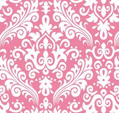 Fabric... Hollywood Large Damask White on Hot Pink by Riley Blake Designs