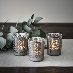 Anouska Tealight Holders Set of Three - Grey