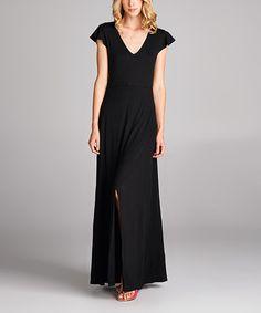 On Trend Black Flutter-Sleeve Maxi Dress | zulily