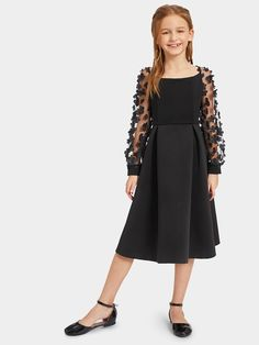 To find out about the Girls Applique Mesh Insert Boxed Pleated Dress at SHEIN, part of our latest Girls Dresses ready to shop online today! Box Pleated Dress, Belted Dress, Girls Fashion Clothes, Kids Fashion, Fashion Outfits, Dresses Kids Girl, Kids Outfits, Scoop Neck Dress, Classy Dress