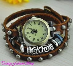 Vintage watchLeather watchRomaji rivets by TodayFashionShop, $18.59