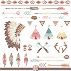 A vector illustration of Tribal Collection perfect for invitations,. Native American Art, American Indians, Motifs Aztèques, Indian Theme, Teepee Tent, Teepees, Feather Headdress, Le Far West, Logo Sticker