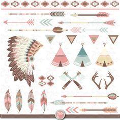 """Paquete de imágenes prediseñadas tribal """"Indio CLIP ART"""", carpas tipi, tocado de plumas, plumas, flechas, fronteras, India clip art, invitación de la boda Trb001                                                                                                                                                                                 Más"""