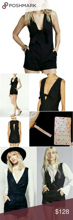 💲75✂Free People Black Romper ⏩Step out in ultimate style with this edgy romper. Defined by a deep V-neck & self-tie that closes the plunge, this gorgeous piece makes a trend-savvy statement ⏩Sleek back cutout, side pockets & concealed side zip closure ⏩Made from high-grade woven cotton & 2% spandex, it provides enough stretch to hold-you-in & smooth-you-out without losing shape ⏩Ultra-sleek with its cleanly tailored seam details & refined, slimming silhouette ⏩Looks great over a white…