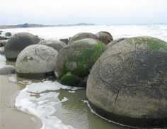 Moeraki Boulders - concretions near Oamaru, New Zealand.