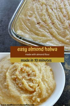 quick and easy halwa recipe made with almonds, milk, sugar and ghee. One of the best tasting halwas and so easy to make. easy Indian diwali sweet to share with friends and family. This instant almond Easy Indian Dessert Recipes, Easy Indian Sweet Recipes, Indian Desserts, Sweets Recipes, Diwali Recipes, Indian Sweets, Indian Recipes, Pakistani Recipes, Cooking Recipes