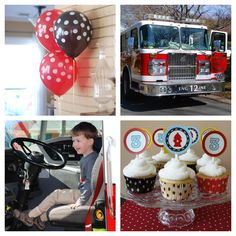 it would be cute to have a picture of him in or near a firetruck on the invite