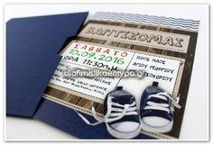 ΒΑΠΤΙΣΗ ΑΓΟΡΙ προσκλητηρια βαπτισης παπουτσακια vintage, invitation