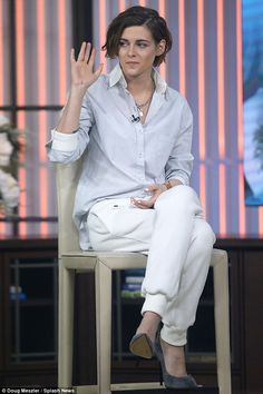 All-white: Kristen Stewart wore an all-white look by Atea Oceaniefor her Today interview ...