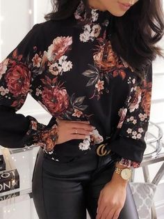 2019 fall fashion trends Shop Allover Floral Print Long Sleeve Blouse right now, get great deals at Voguelily. Look Fashion, Fashion Outfits, Womens Fashion, Cheap Fashion, Fashion 2018, Fashion Clothes, Latest Fashion, Fashion Online, High Fashion