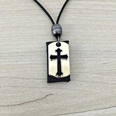Colar masculino feminino pingente crucifixo dourado