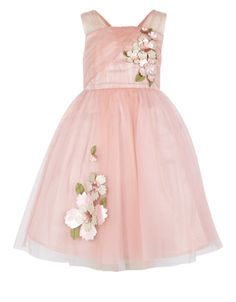 Fit for a modern-day princess: our Aphrodite dress for girls is embellished with layered, leather-look flowers with sequin decorations, and crafted with a softly-gathered tulle skirt for extra 'wow' factor. This party piece is lined in duchess satin, and features a tie-up bow on the back. Features a zip fastening.