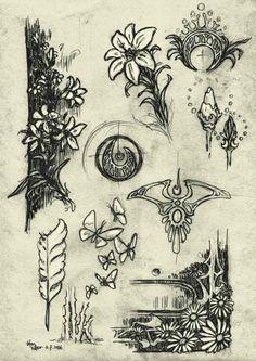In process - art nouveau artwork for xbox 360 °. Motifs Art Nouveau, Design Art Nouveau, Motif Art Deco, Art Nouveau Pattern, Art Design, Pattern Art, Design Floral, Stencil Patterns, Stencil Designs