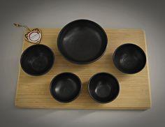 Set van 5 unieke handgedraaide tapas kommetjes / schaaltjes / keramiek - steengoed (gesigneerd) / briljant antraciet mat Tapas, Measuring Cups, Etsy, Measuring Cup, Measuring Spoons