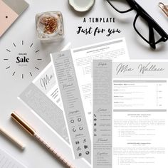 Professional Resume + Cover Letter Template Editable for MS Word - Curriculum Vitae - English CV with Fonts included - Resume Cover Letter Template, Letter Templates, Resume Templates, Creative Cv Template, I Got The Job, Creative Curriculum, Professional Resume, Marketing And Advertising, Lettering