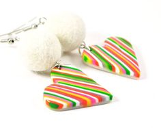 Bright hearts earrings from polymer clay  heart jewelry by Rozibuz,