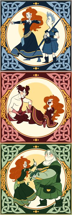 Merida with her suitors. I love how it still looks like she's treating them like brothers or friends (as opposed to love interest)~