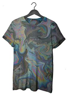 Oil Slick Tee clashist Unisex T-shirt in marbled oil spill digital print Visual Kei, Tie Dye T Shirts, Tee Shirts, Grunge, Creepy, Punk, Look Cool, Unisex, What To Wear